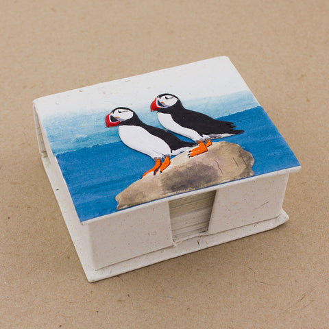 Note Box Puffins Natural White