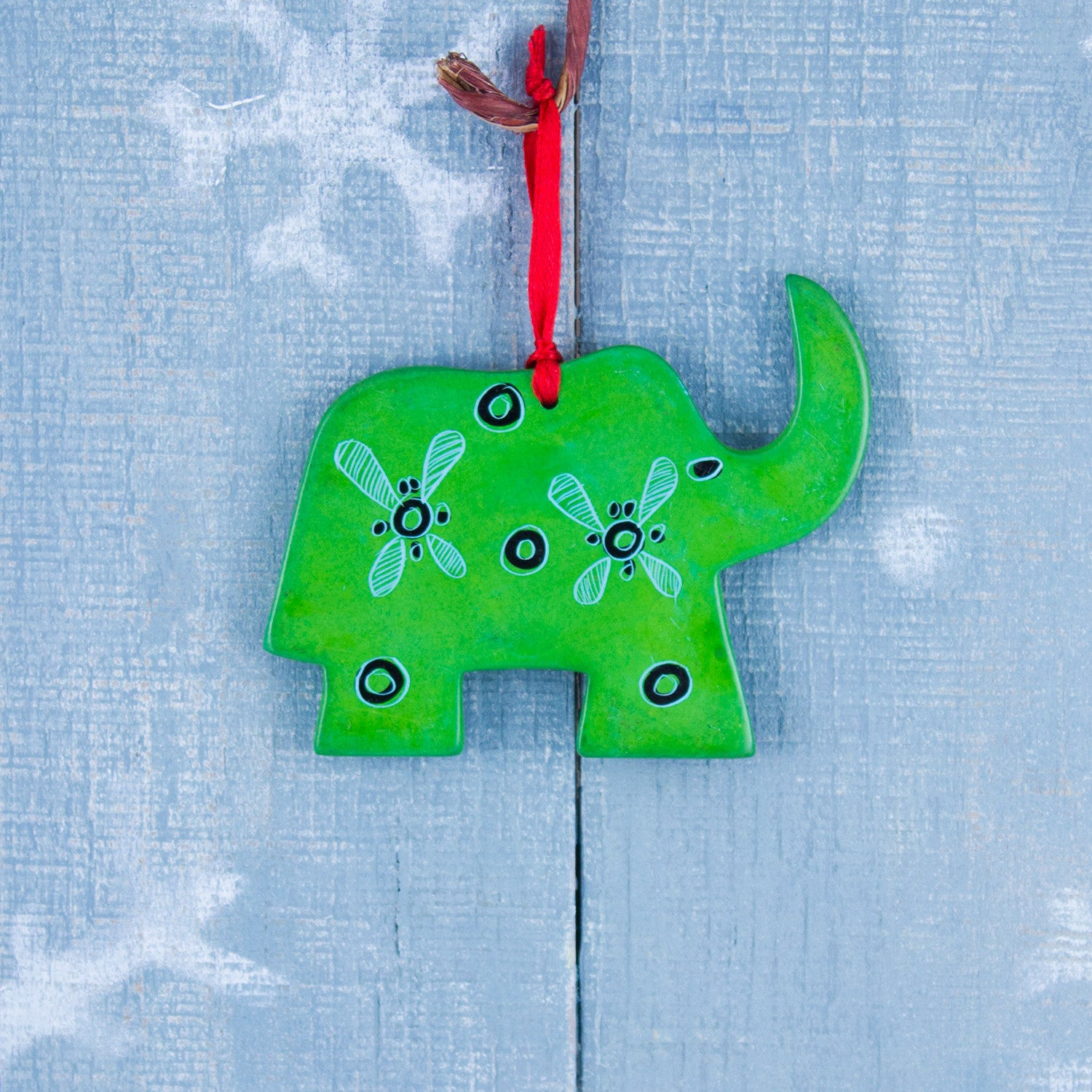 Soapstone Ornament Elephant Dark Green