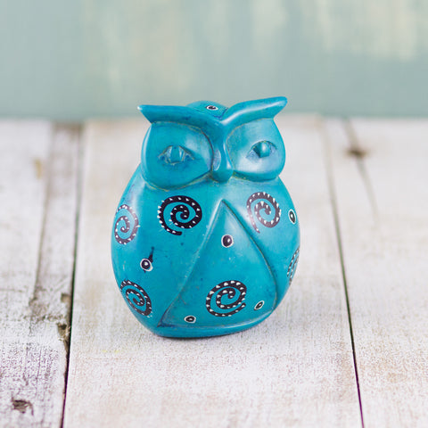 Soapstone Owl Light Blue