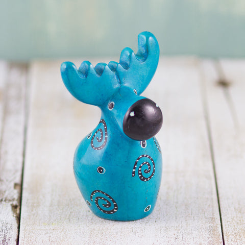 Soapstone Moose Light Blue