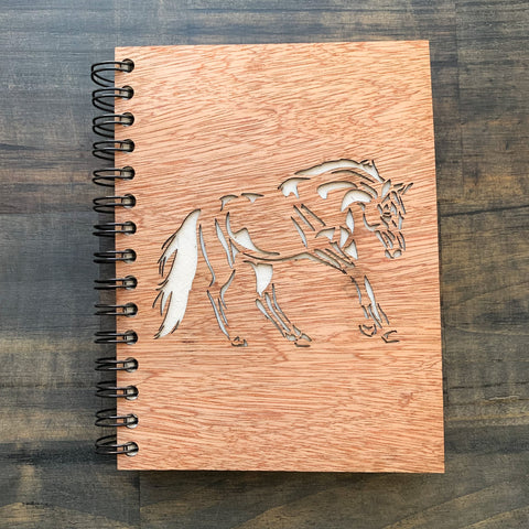 Large Notebook Wood Cover Horse