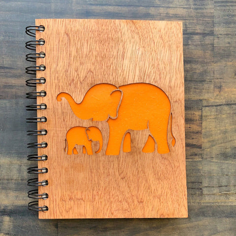 Large Notebook Wood Cover Elephant Mother and Baby Love