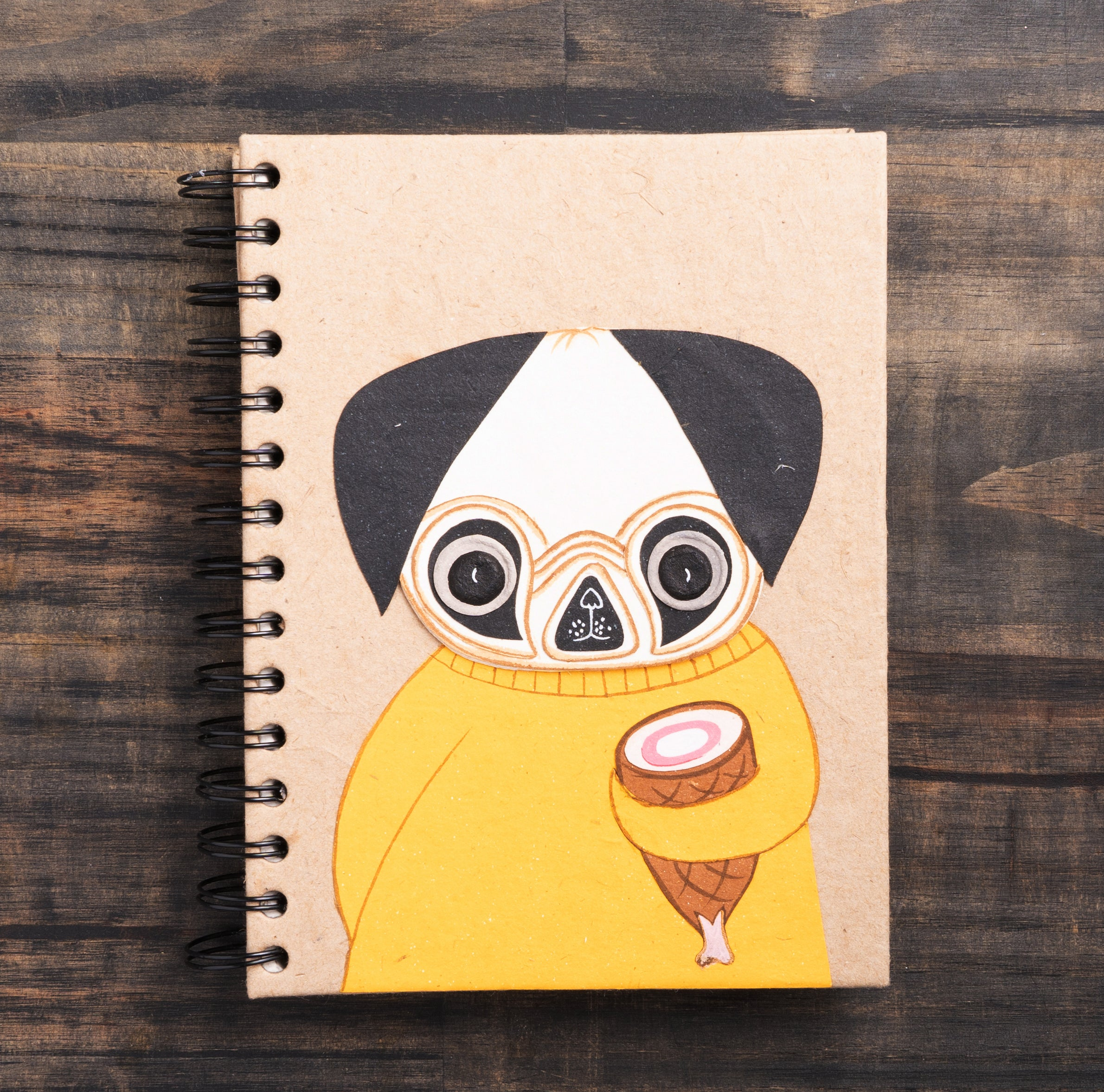 Large Notebook Pugsley the Pug Kraft