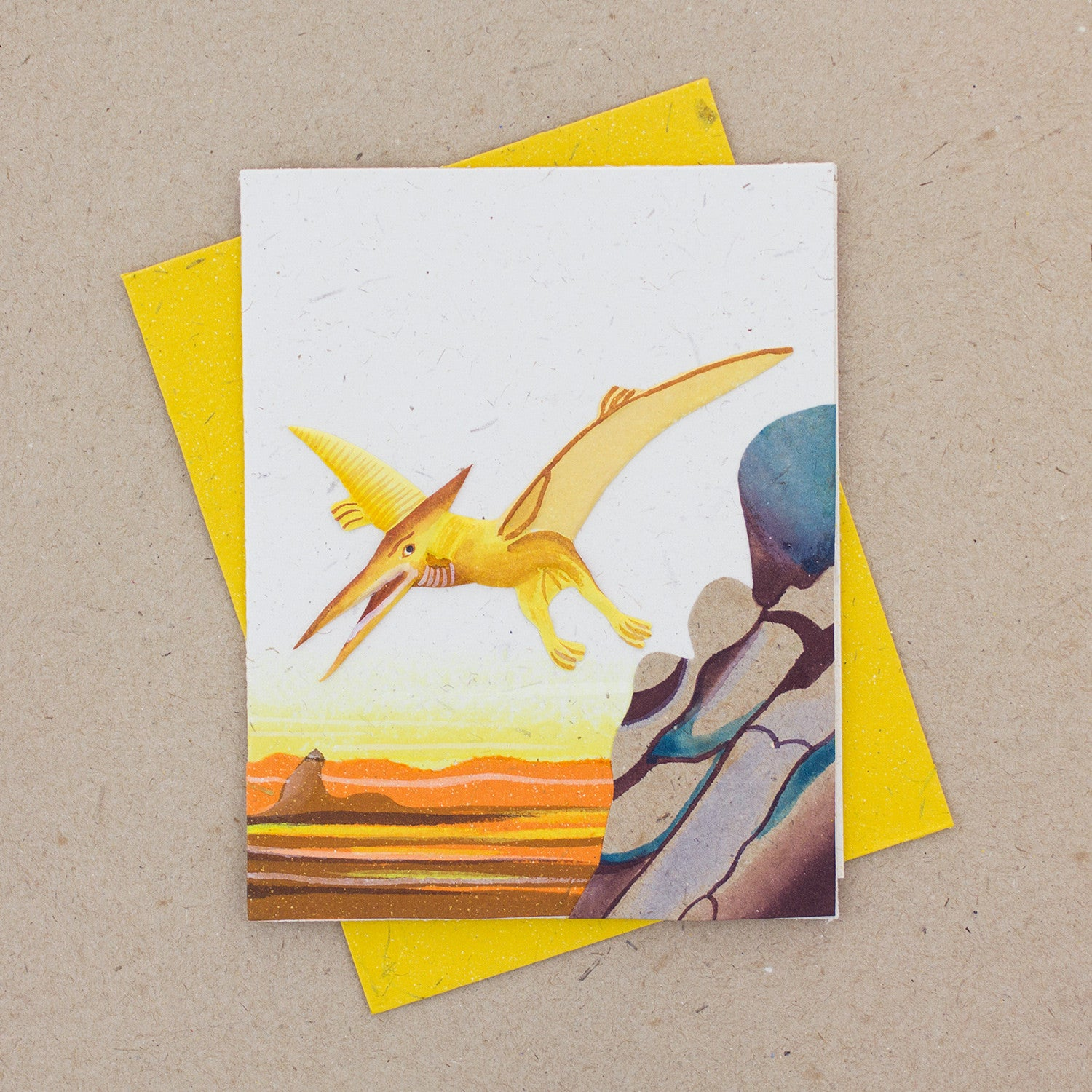 Single Greeting Card Pterodactyl Natural White