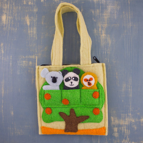 Felt Finger Puppet Bag Forest