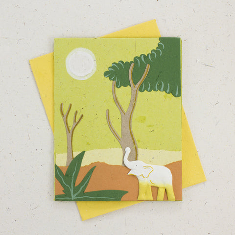 Single Greeting Card Elephant Light Green