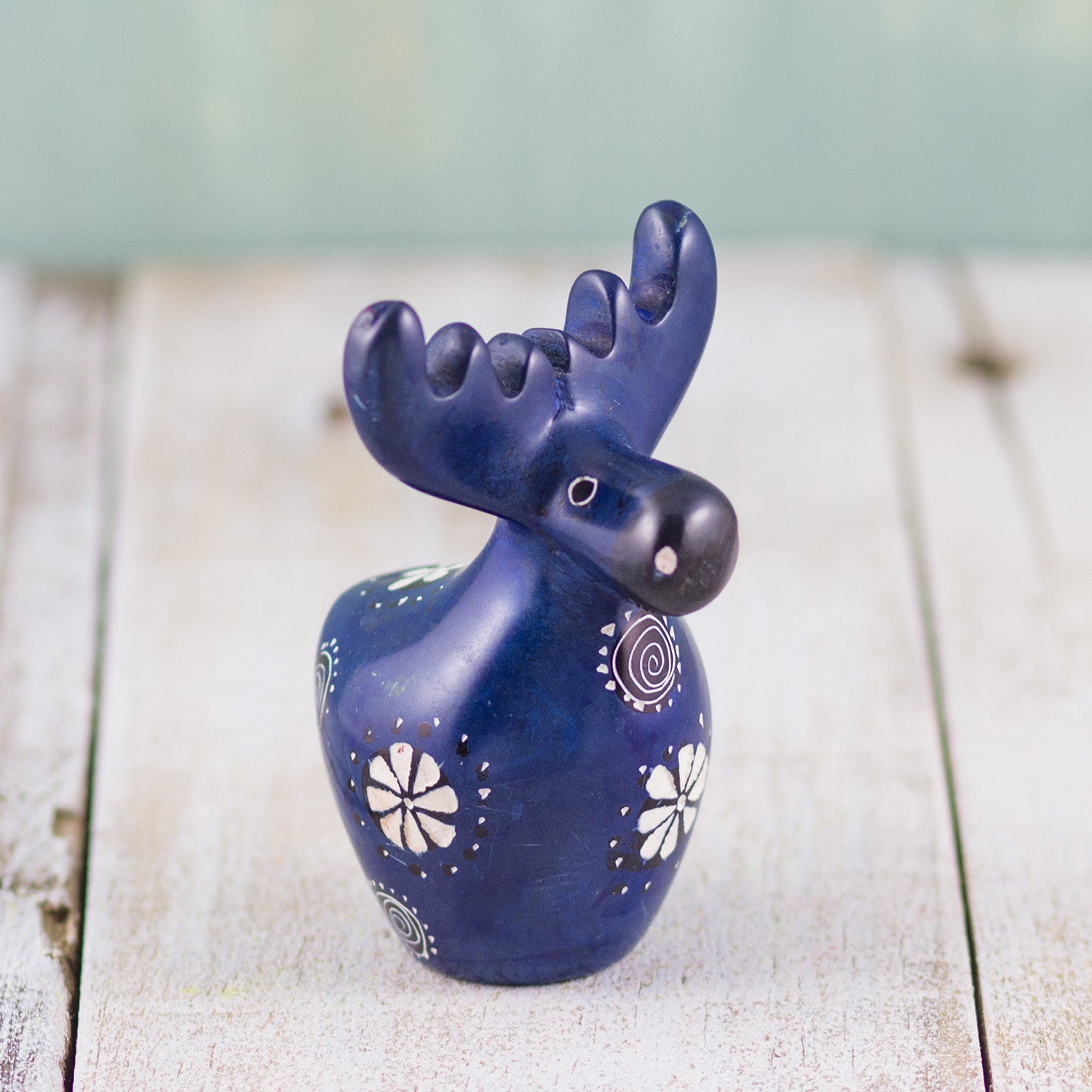 Soapstone Moose Dark Blue