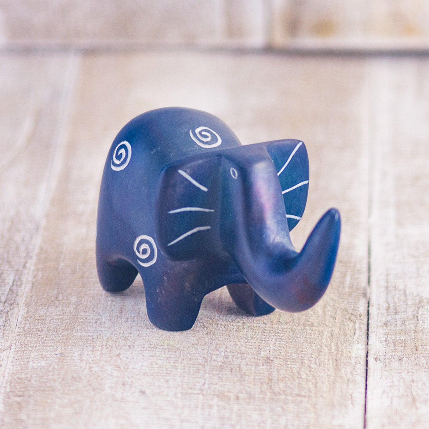 Soapstone Elephant Dark Blue