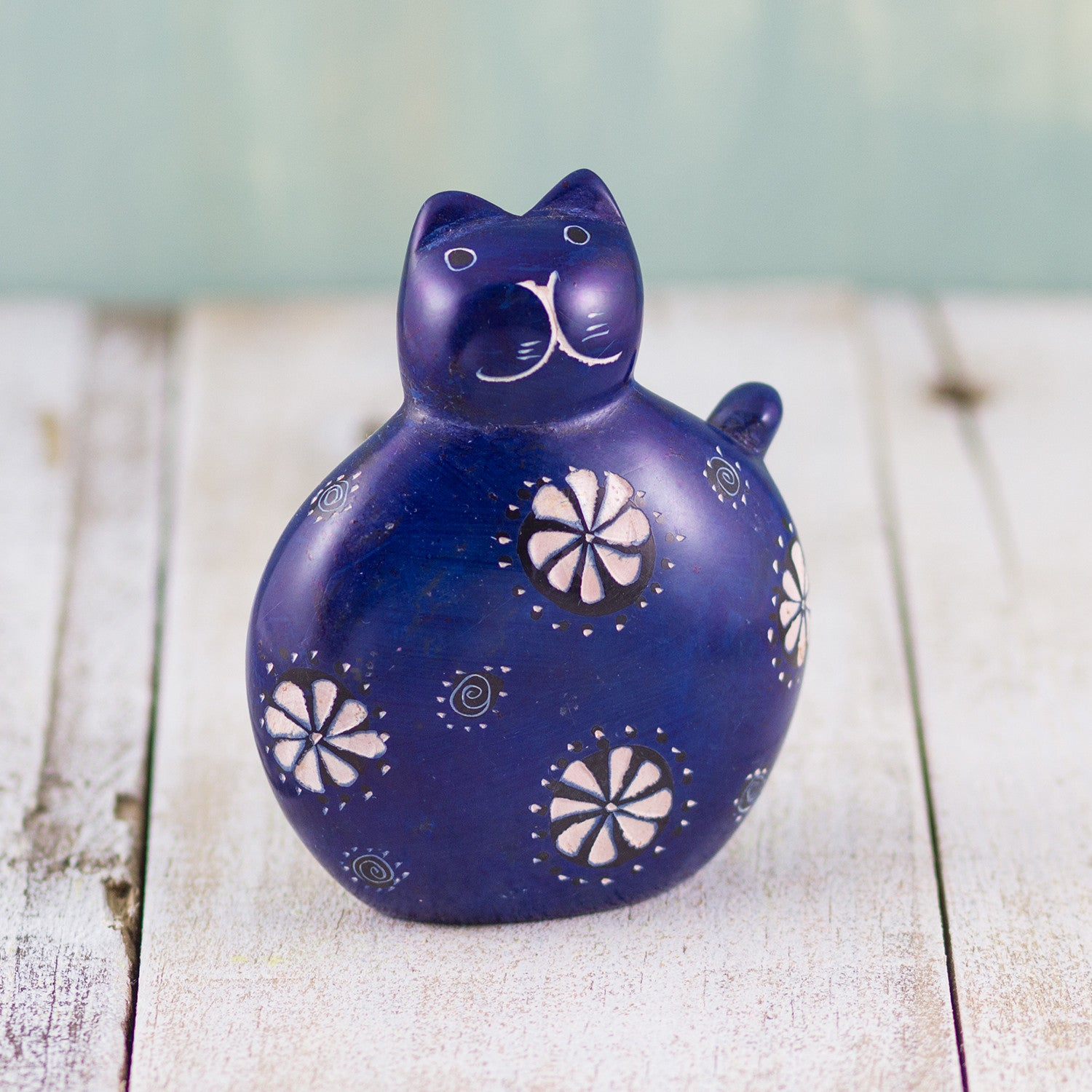Soapstone Fat Cat Dark Blue