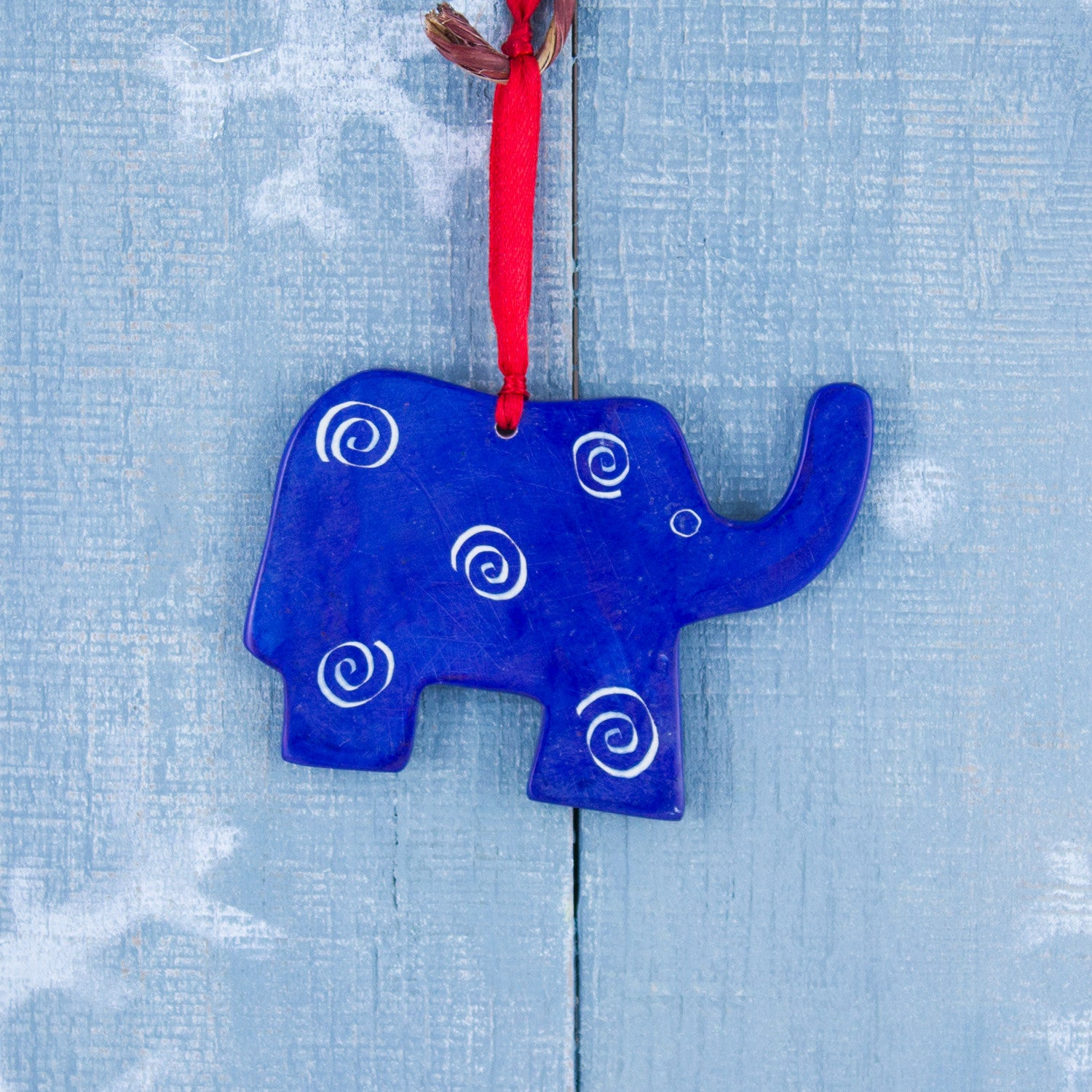 Soapstone Ornament Elephant Dark Blue