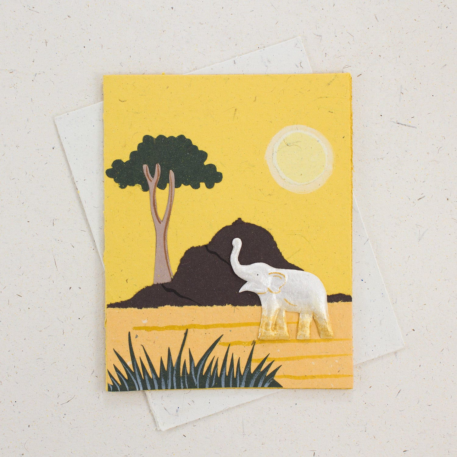 Single Greeting Card Elephant Yellow