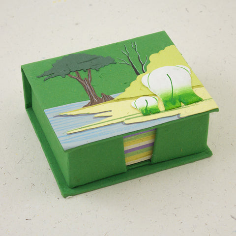 Note Box Elephants Dark Green