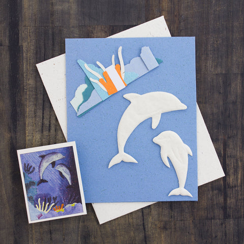 DIY Single Greeting Card Kit Dolphins
