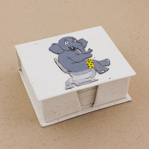 Note Box Elephant on Toilet Natural White