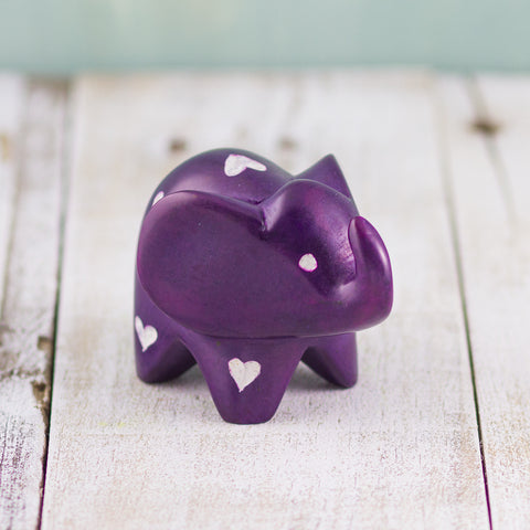 Soapstone Big-Eared Elephant Purple