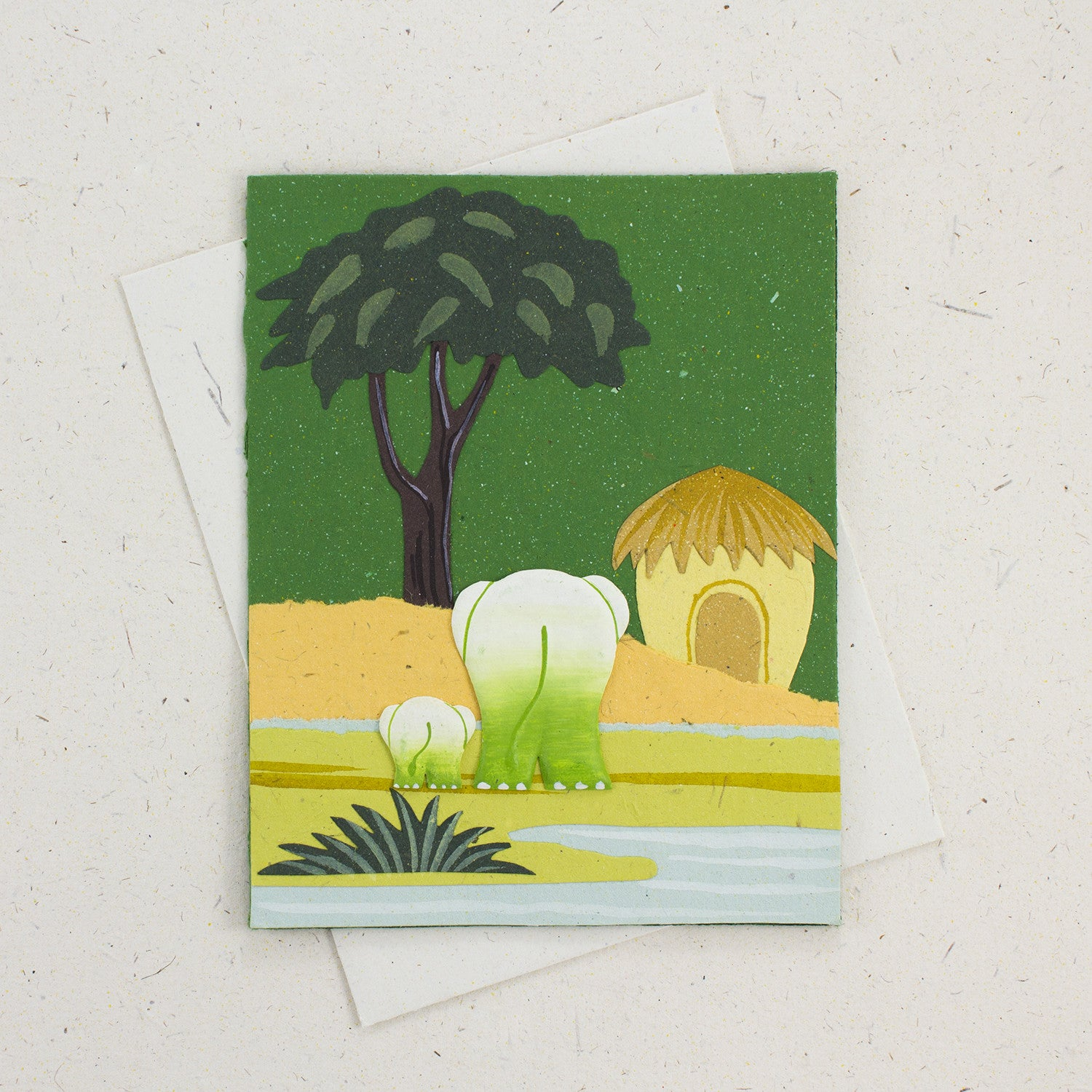 Single Greeting Card Elephants Dark Green