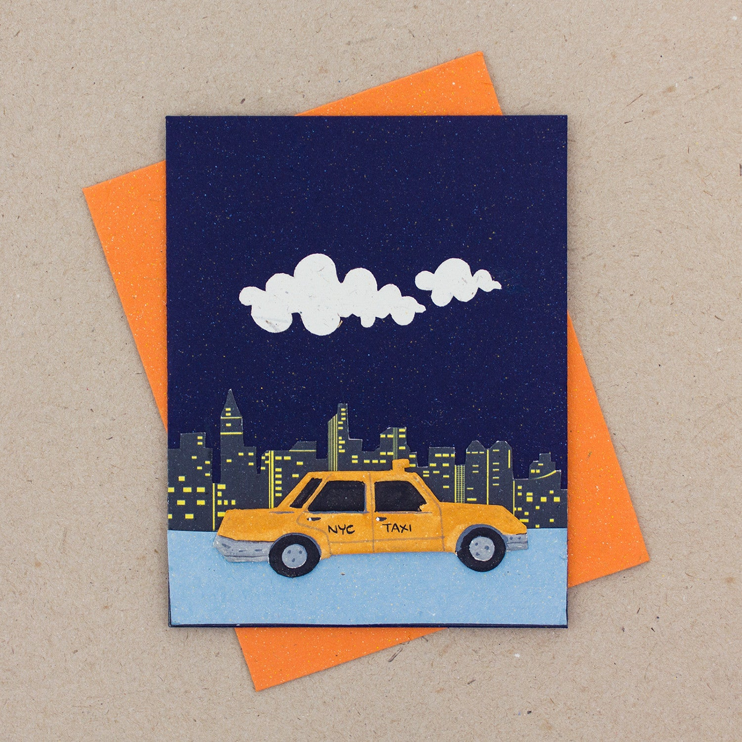 Single Greeting Card NYC Taxi Dark Blue