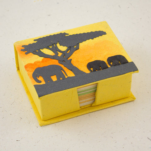 Note Box Elephants Yellow