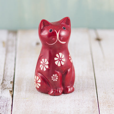 Soapstone Cute Kitty Cat Red