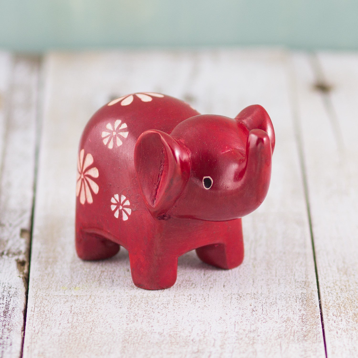 Soapstone Small-Eared Elephant Red