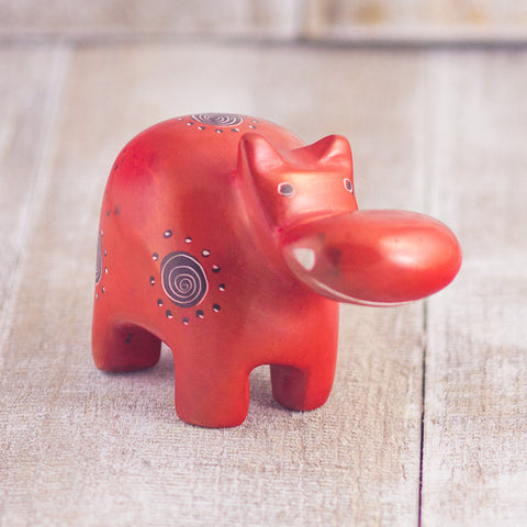 Soapstone Hippo Red