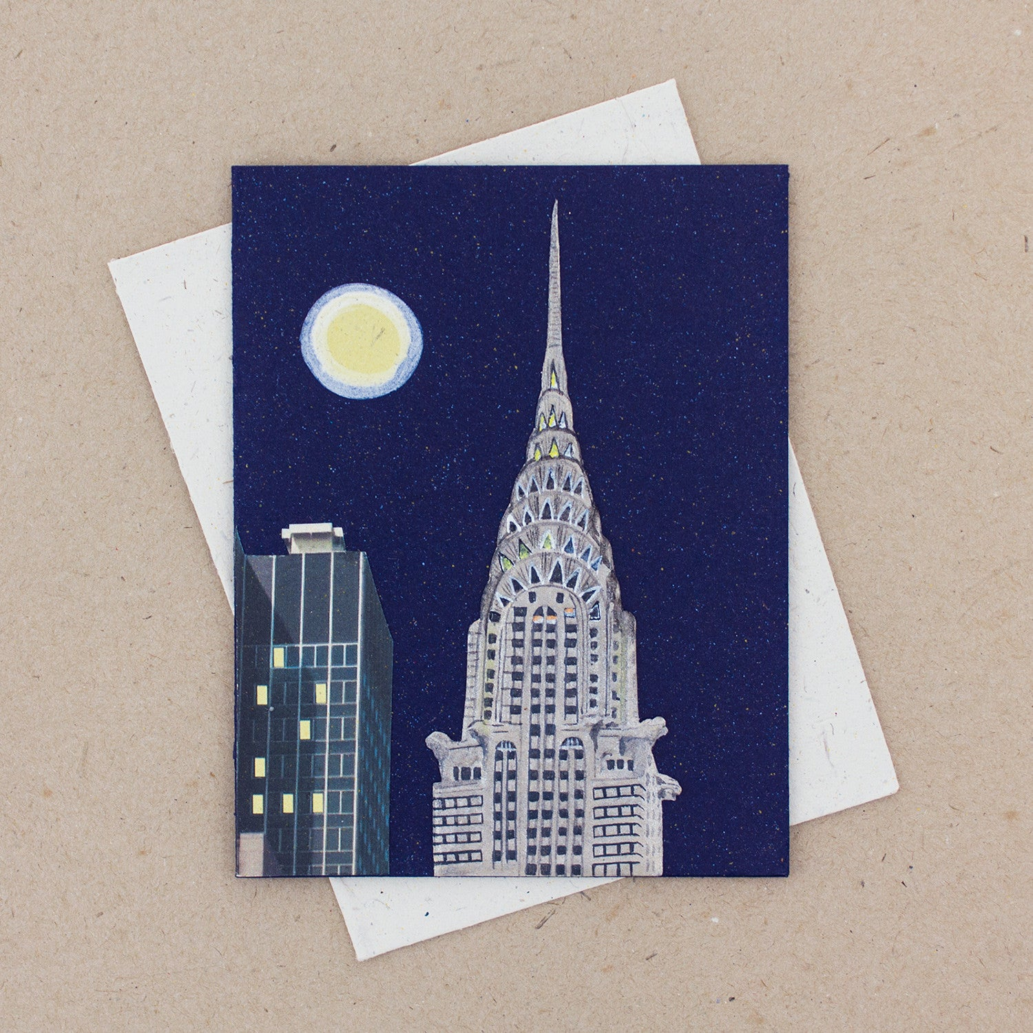 Single Greeting Card Chrysler Building Dark Blue
