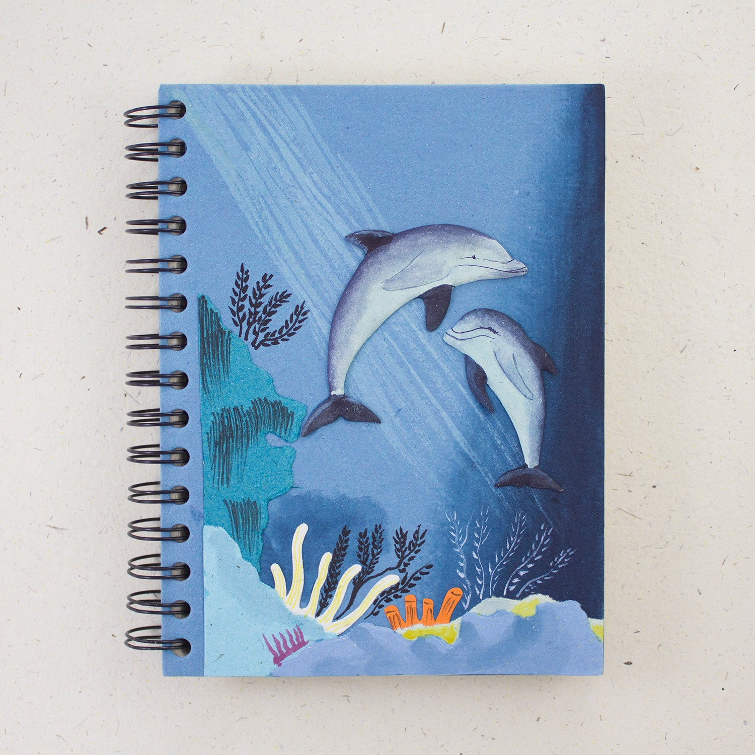 Large Notebook Dolphins Pale Blue