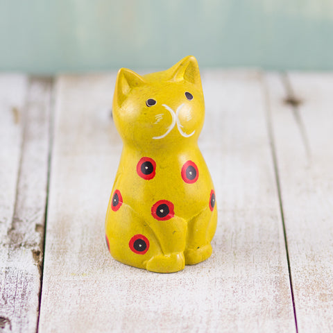 Soapstone Cute Kitty Cat Yellow