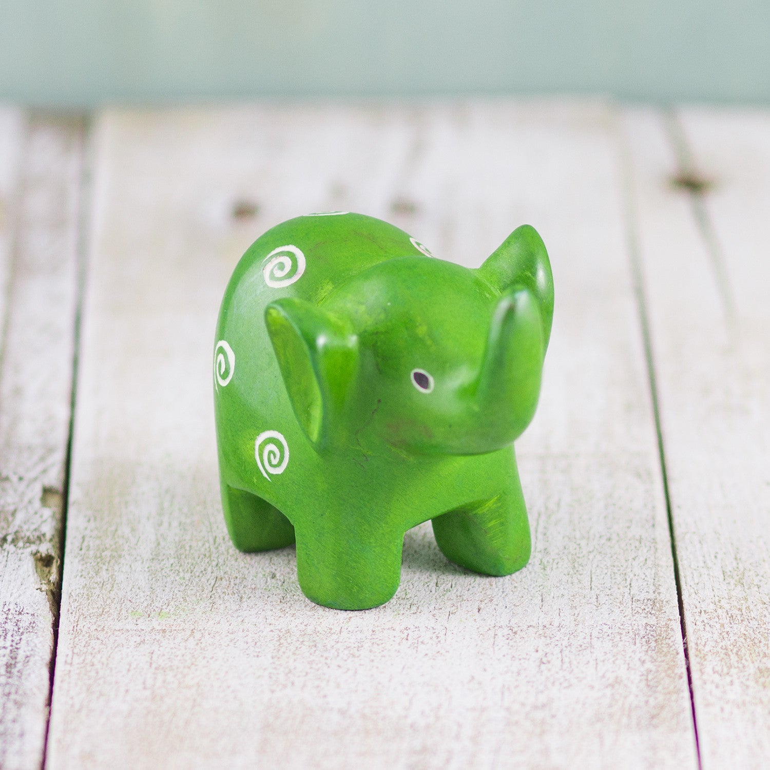 Soapstone Small-Eared Elephant Green