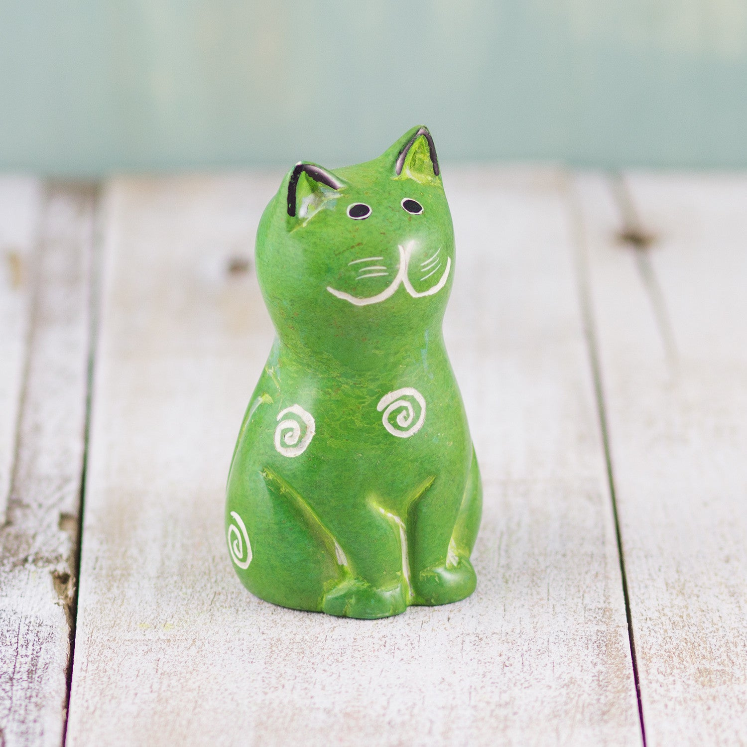 Soapstone Cute Kitty Cat Green