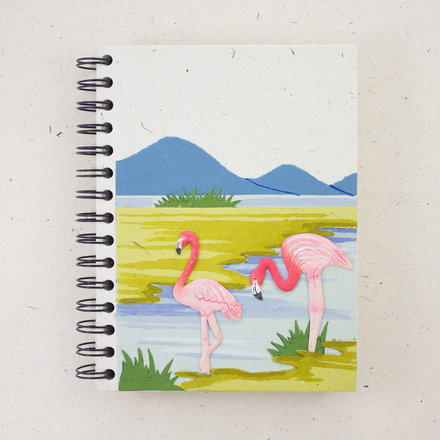 Large Notebook Flamingos Natural White