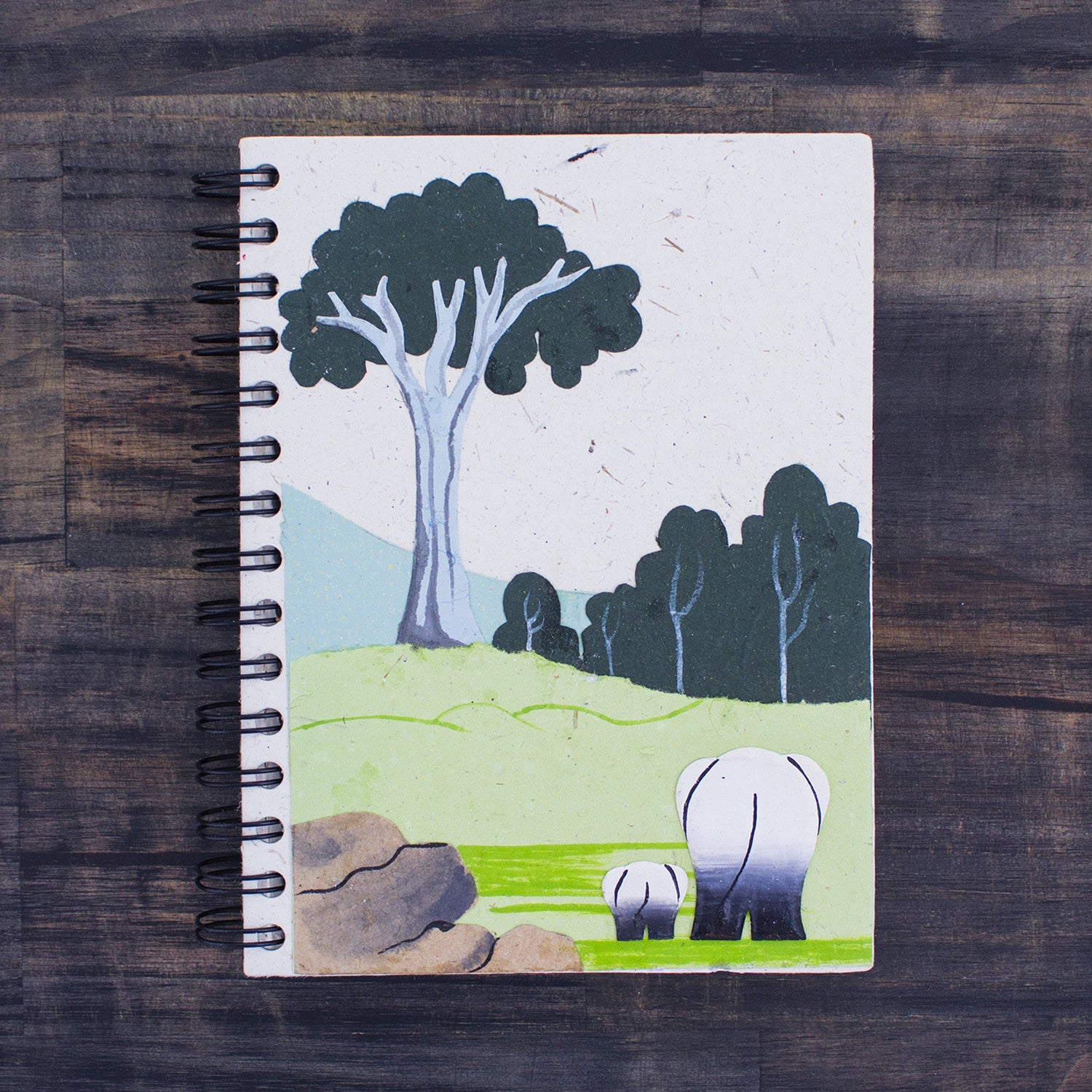 Large Notebook Mama & Baby Elephants Natural White