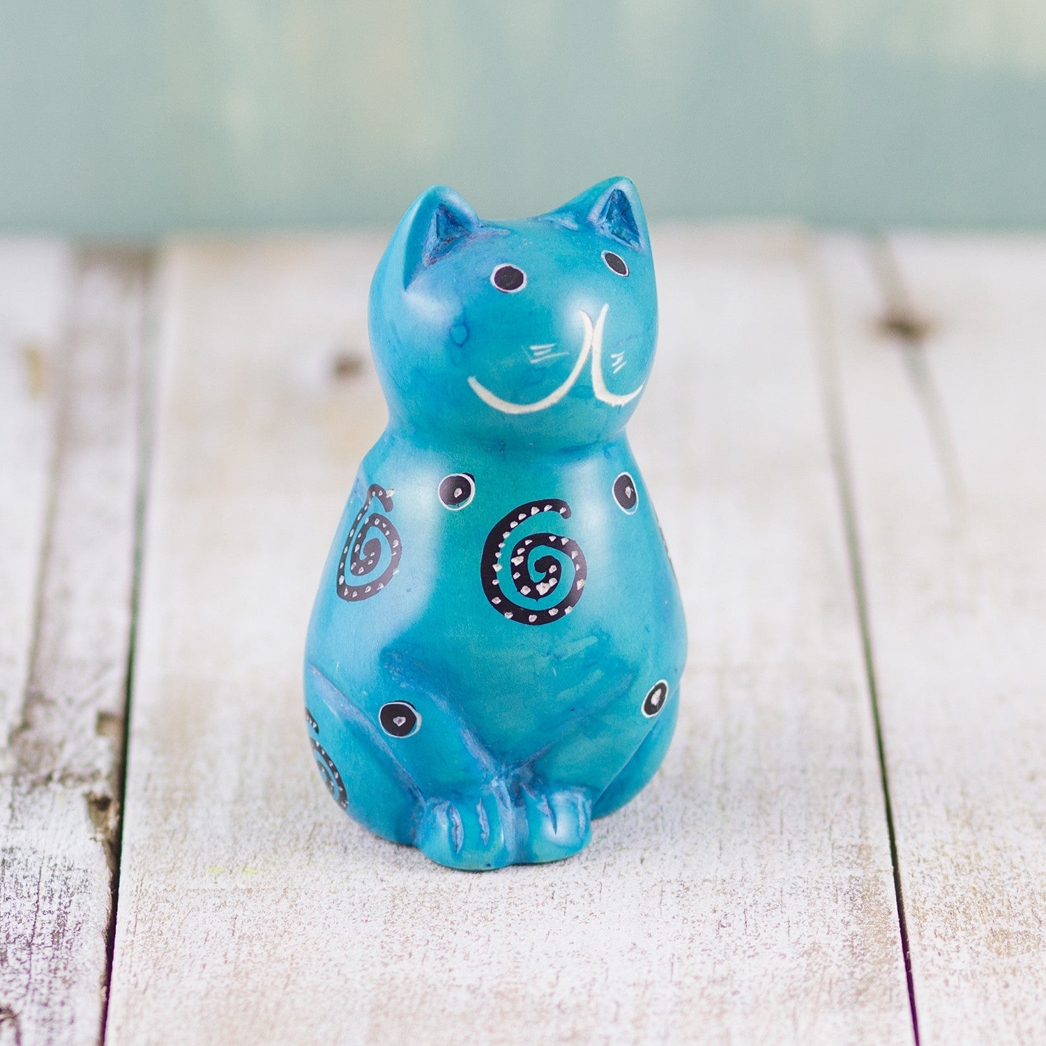 Soapstone Cute Kitty Cat Light Blue