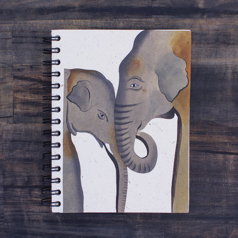 Large Notebook Painted Elephants Natural White