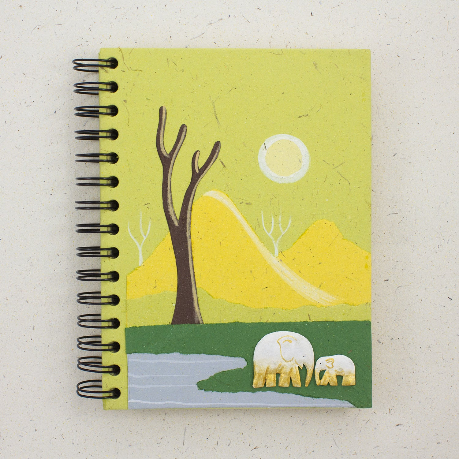 Large Notebook Elephants Light Green
