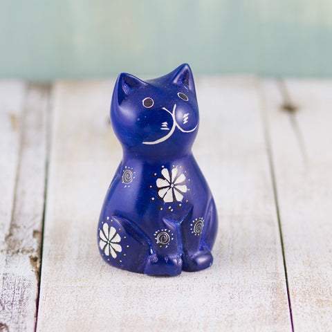 Soapstone Cute Kitty Cat Dark Blue