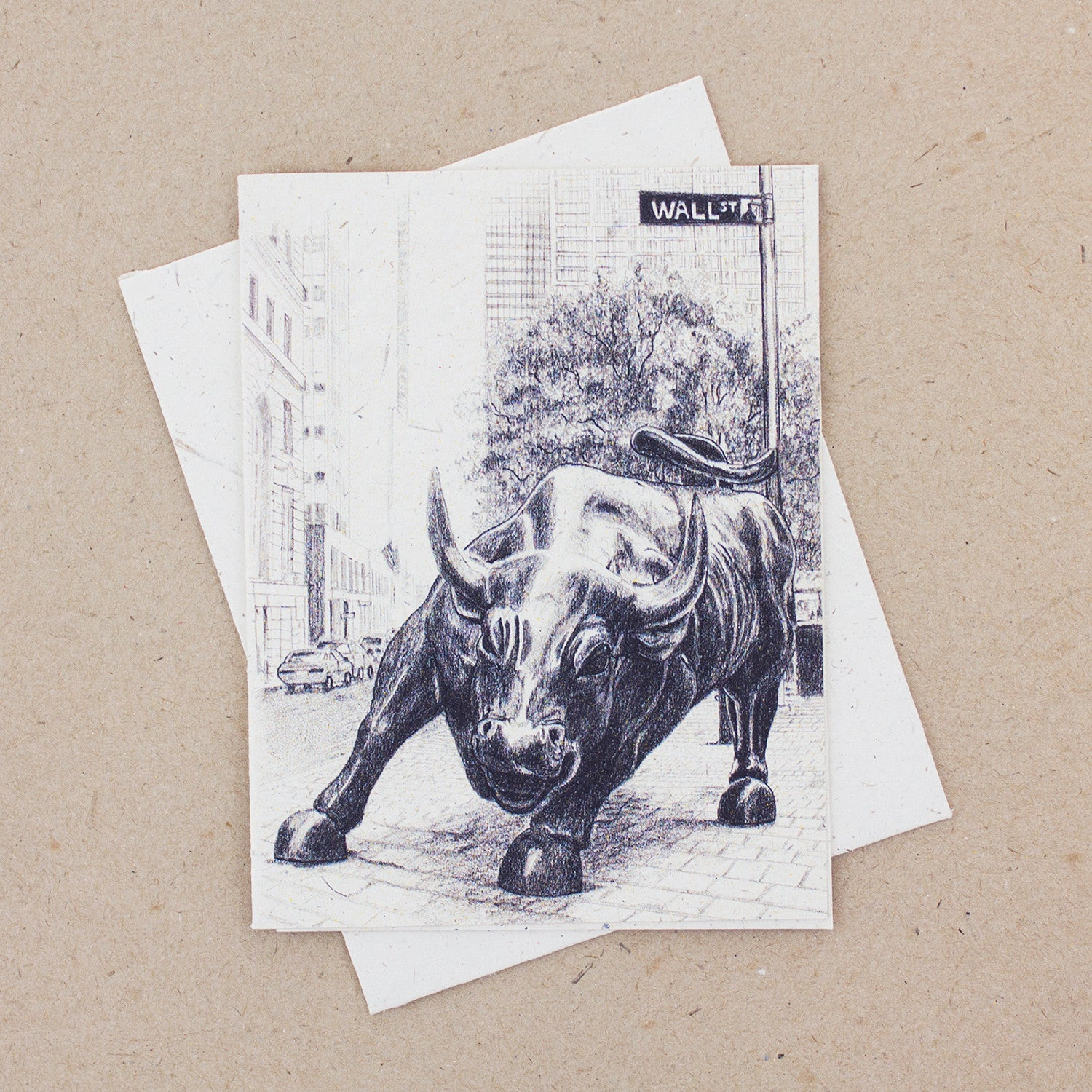 Single Greeting Card Wall Street Bull Sketch
