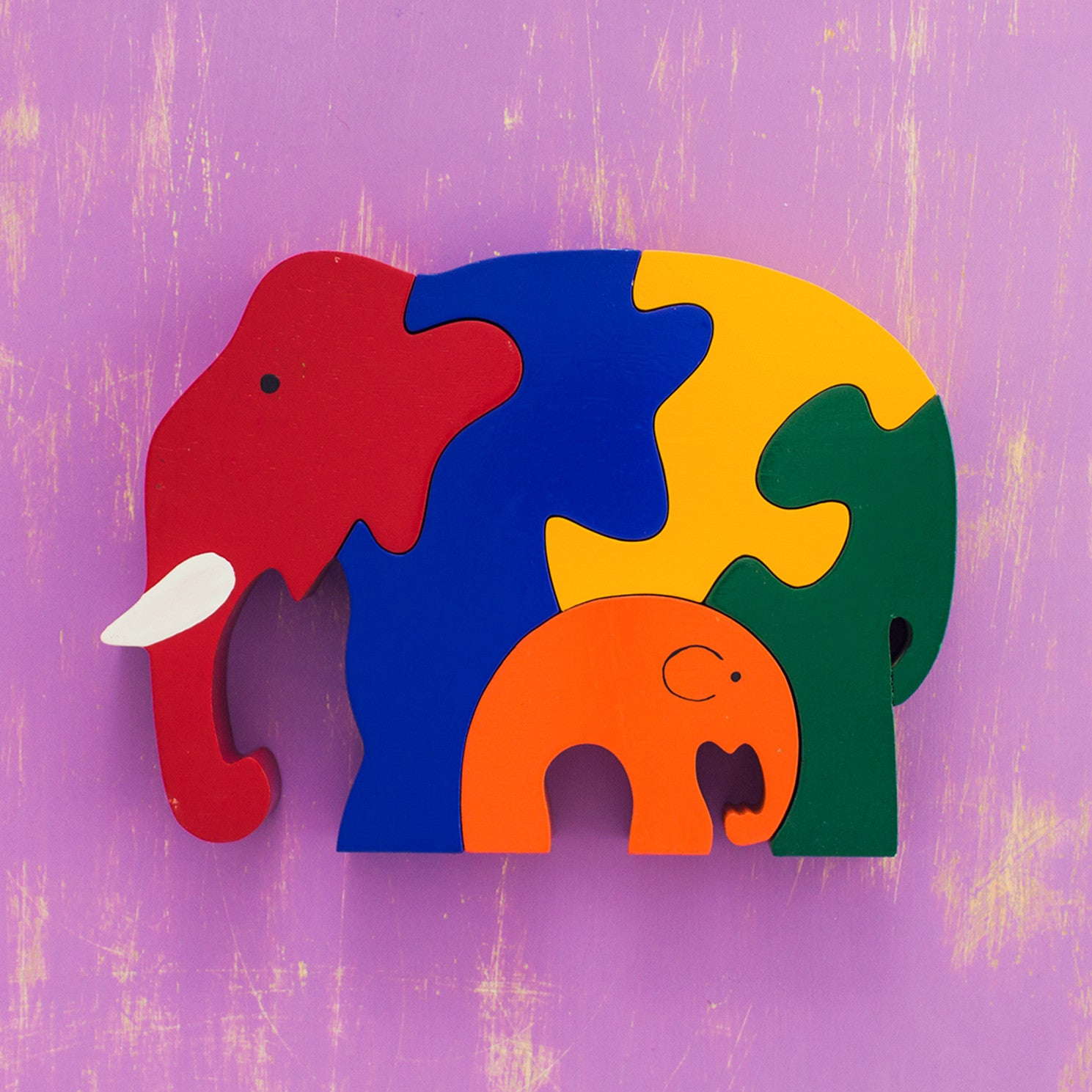 Wooden Puzzle Mama and Baby Elephants