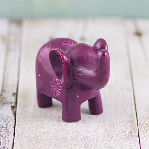 Soapstone Small-Eared Elephant Purple