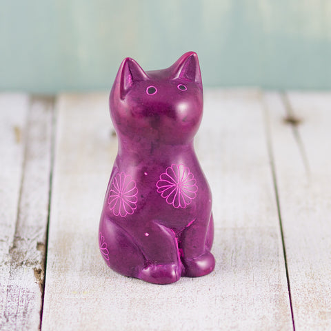 Soapstone Cute Kitty Cat Purple