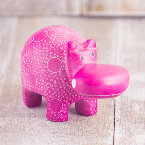 Soapstone Hippo Pink