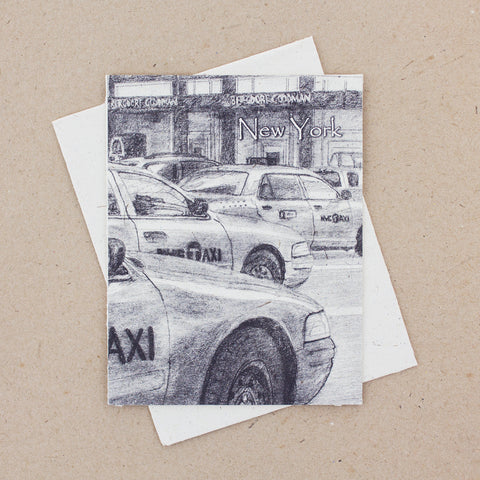 Single Greeting Card NYC Taxis Sketch