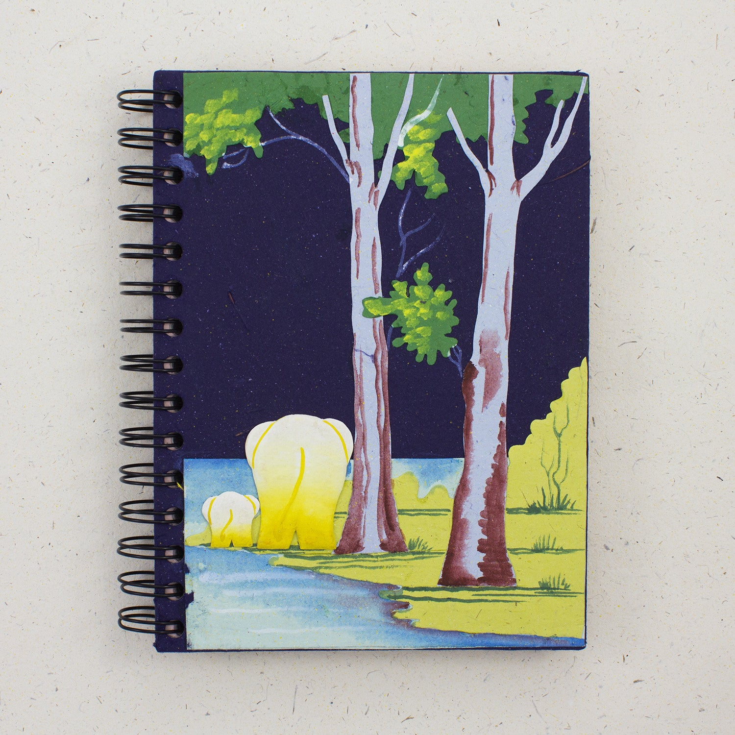 Large Notebook Elephants Dark Blue