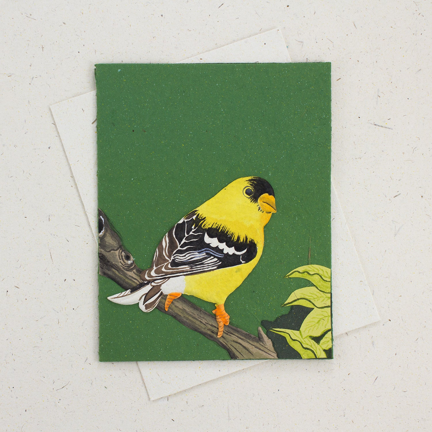 Single Greeting Card Goldfinch Dark Green