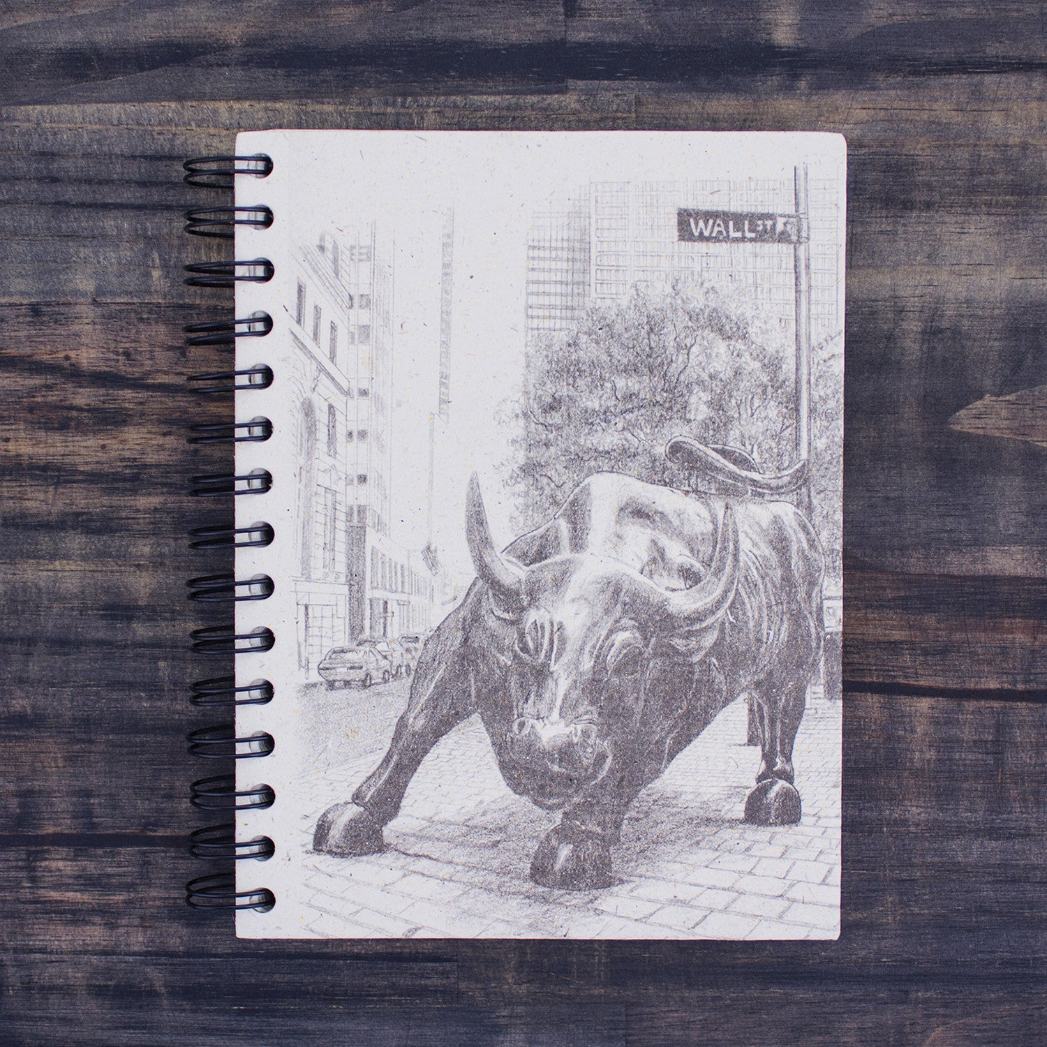 Large Notebook Wall Street Bull Sketch Natural White
