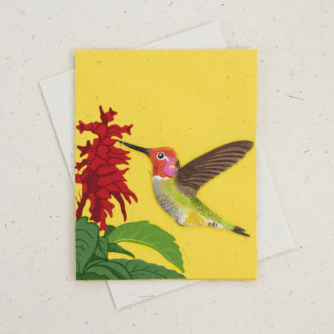 Single Greeting Card Hummingbird Yellow
