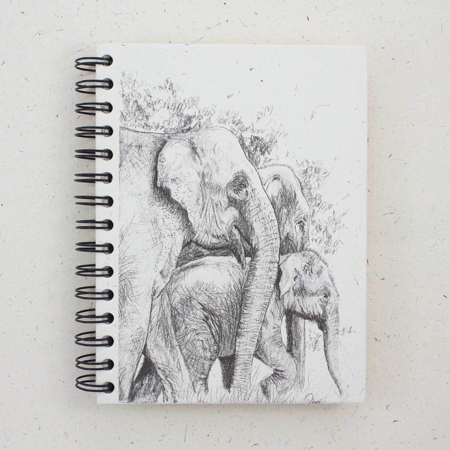 Large Notebook Elephant Family Sketch