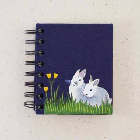 Small Notebook Rabbits Dark Blue