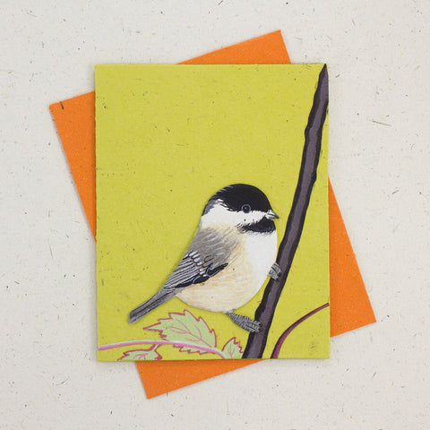 Single Greeting Card Chickadee Light Green