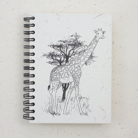 Large Notebook Giraffe Sketch Natural White